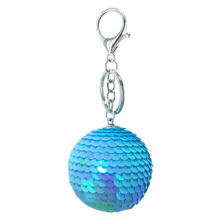 Fashion Round Ball Sequin Handmade Key Chain Gift Bag Keychain Jewelry Accessories Blingbling Glitter Ring