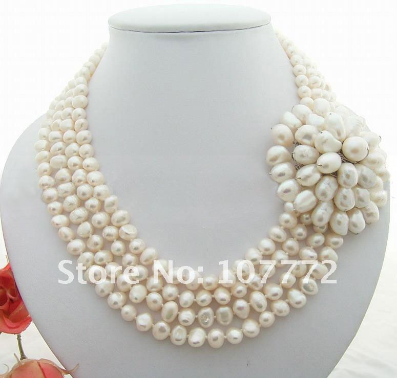 4 strands White Pearl&Flower Necklace4 strands White Pearl&Flower Necklace