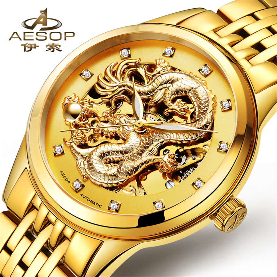 Aesop Golden Men Watches Top Luxury Brand Watch Man Automatic Mechanical Gold Skeleton Clock Sports Men Watch Relogio Masculino