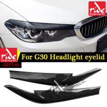 For BMW G30 Carbon Fiber 2pcs Headlight Eyelids Eyebrows Covers Trim 5 Series 520d 530i 530d 540i 525i Sedan 2017-in