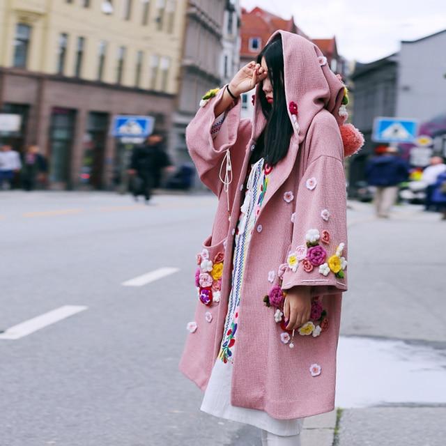 MX128 Новое Прибытие Осень 2016 негабаритных капюшоном плащ симпатичные вязаные цветы свободные розовый трикотажные пальто женщин длинные