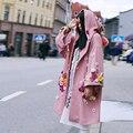 MX128 Outono Nova da Chegada 2016 de grandes dimensões com capuz trench coat bonito flores de crochê rosa solta malha mulheres casaco longo