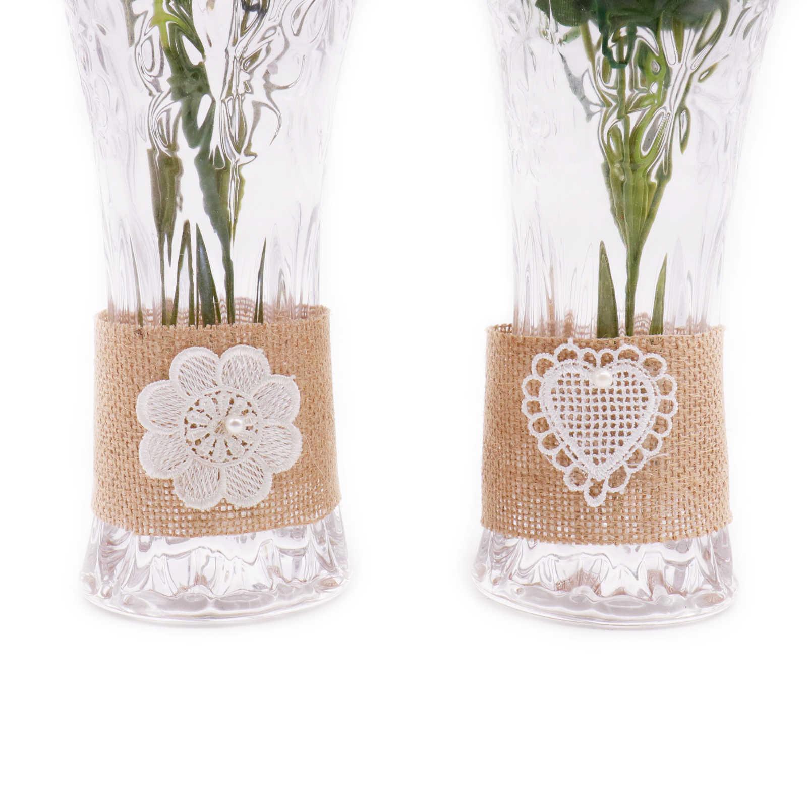 6x25.5 cm naturalne juta juta hesji kwiat serce koronki wykończenia wstążka wazon kwiat butelki pierścień taśma dla nowych rok ślub Party Decor