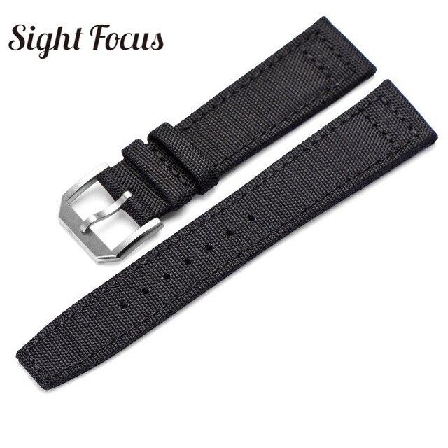20mm 21mm 22mm Nylon Canvas Fabric Watch Band for IWC Pilot Spitfire Timezone Top Gun Strap Green Black Belts Wristwatch Straps | Watchbands