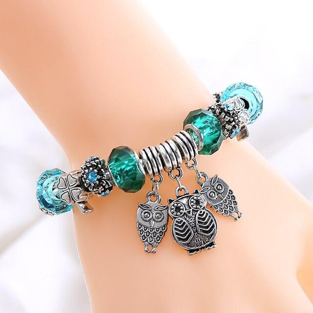 Купить новый дизайн тибетская серебристая сова бусы браслеты зеленый