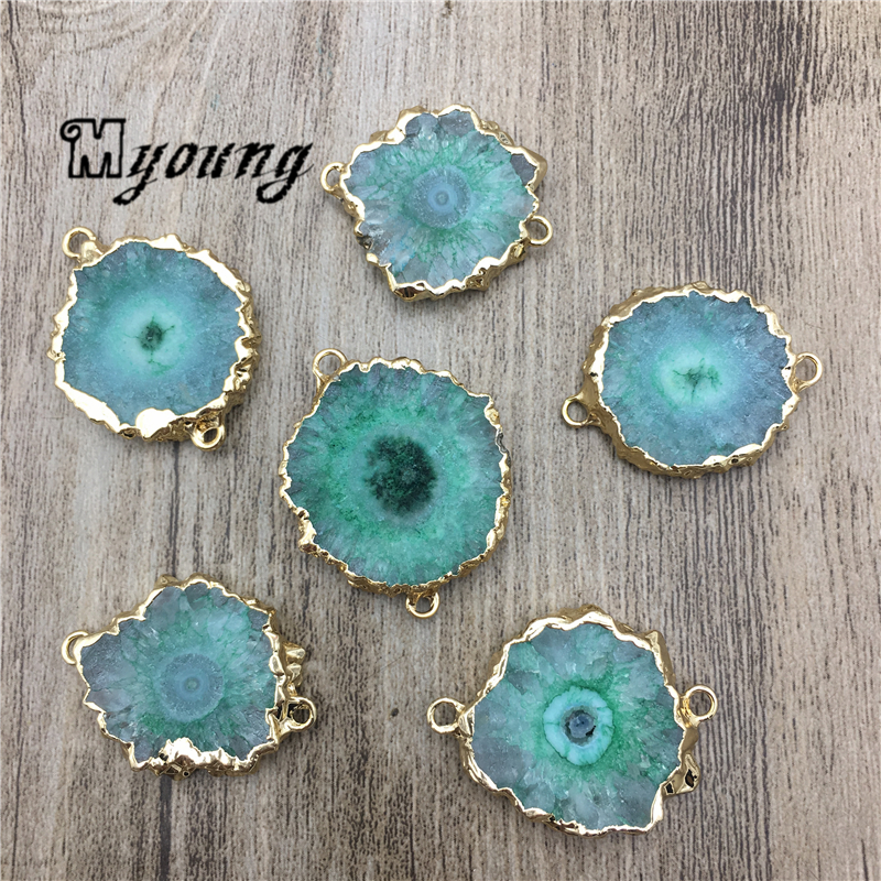 Sun Flower Shape Green Crystal Quartz Druzy Slice Connector Charm,Natural Stalactite Stone Slab Pendant For DIY Jewelry MY2031-in Charms from Jewelry & Accessories    1