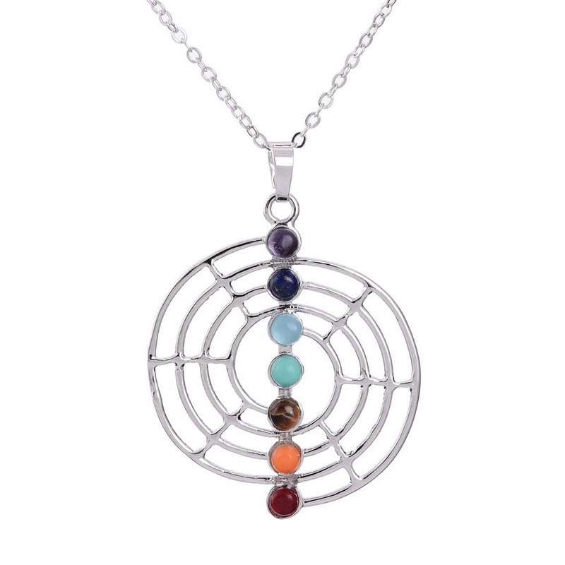 Colorful Irregular Natural Stone Alloy Pendant Necklace