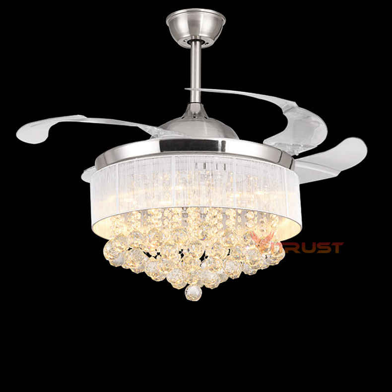 US $301.66 36% OFF|Fashion Crystal Ceiling Fan Chandelier Light Invisible  Ceiling Fan Lamp for Dining Room Bedroom with Remote Control 36/42 Inch-in  ...