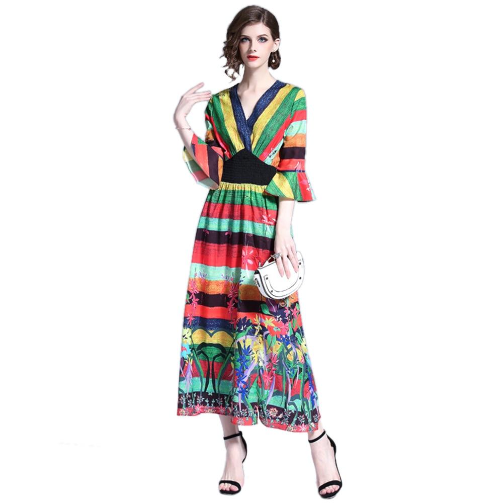 Aliexpress Com Buy Elegant Flare Sleeve Wedding Dress: Aliexpress.com : Buy Women Summer Striped Dress Flare