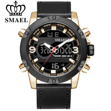 SMAEL Mens Watches Top Brand Luxury Fashion Quartz Digital Watch Men Genuine Leather Sports Military Wrist Watch For Male Clock jaragar blue sky series elegant design genuine leather strap male wrist watch mens watches top brand luxury clock men automatic