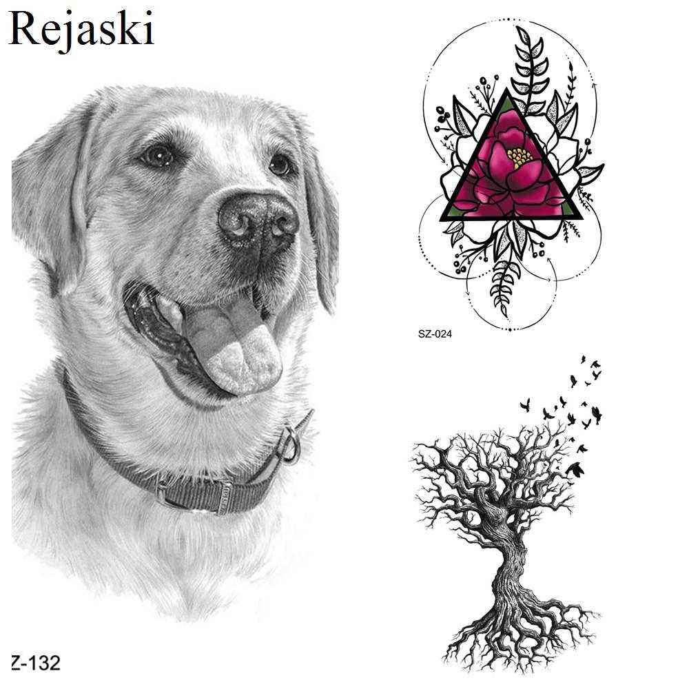 Labrador Dog Temporary Tattoo Stickers Women Body Arm Leaf Black Fake Tatoo Men Kids Waterproof 3D Tattoo Golden Retriever