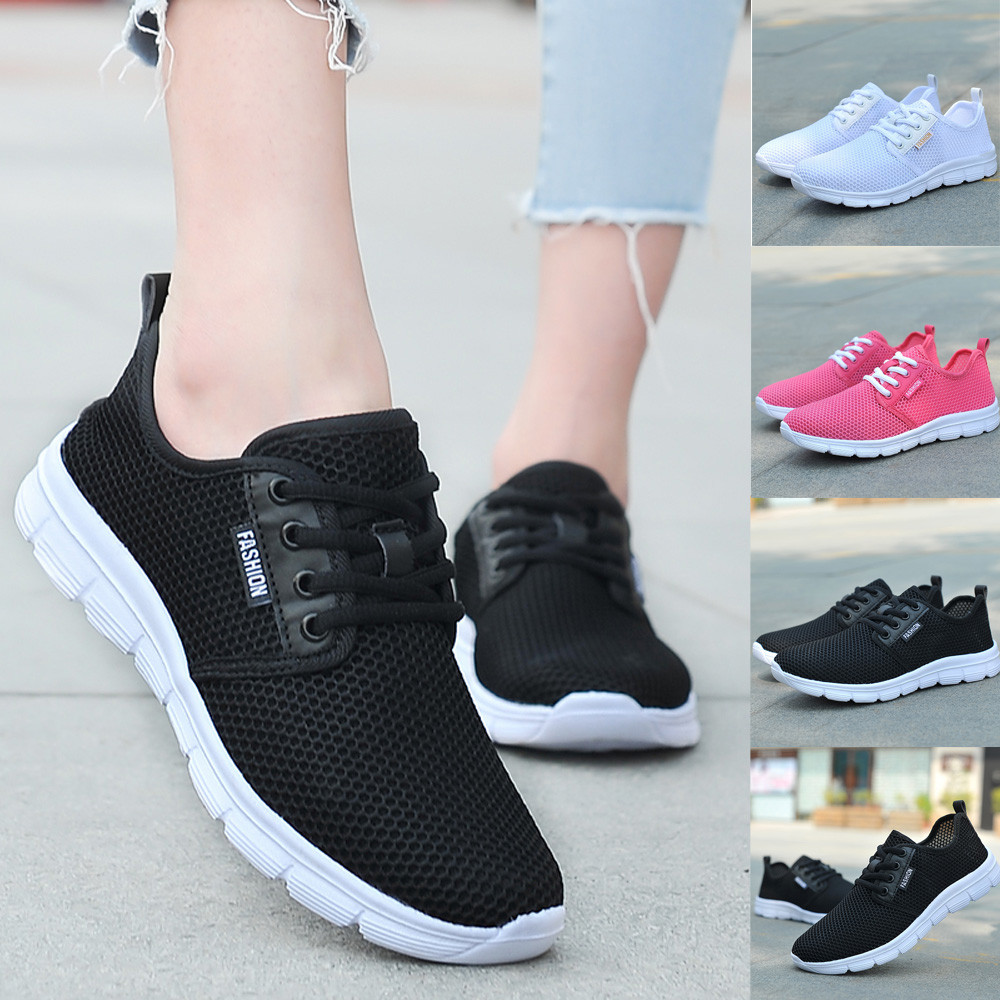 Respirant Femmes blanc rose Chaussures Maille forme Semelles Plate L2 Youyedian Lacets Confortables Baskets Mode Blanc Casual 5 Noir wUSTq8