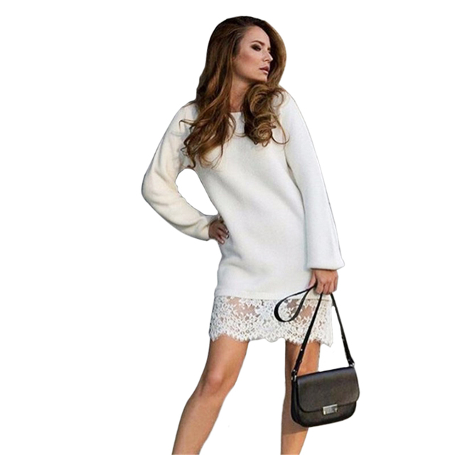Women Knitted Dress Vestidos Autumn Winter Dress With Lace Sweater