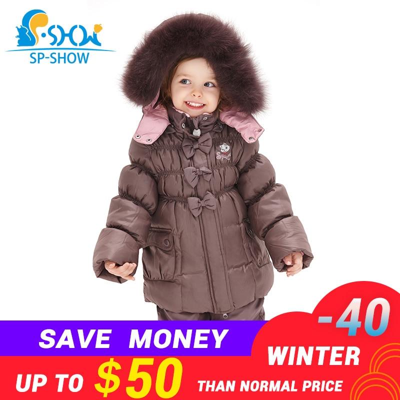 Girl Luxury Brand Ski Fur Jacket Windproof Jacket Thick Warm Winter FurJacket Coat Trousers Free Shipping