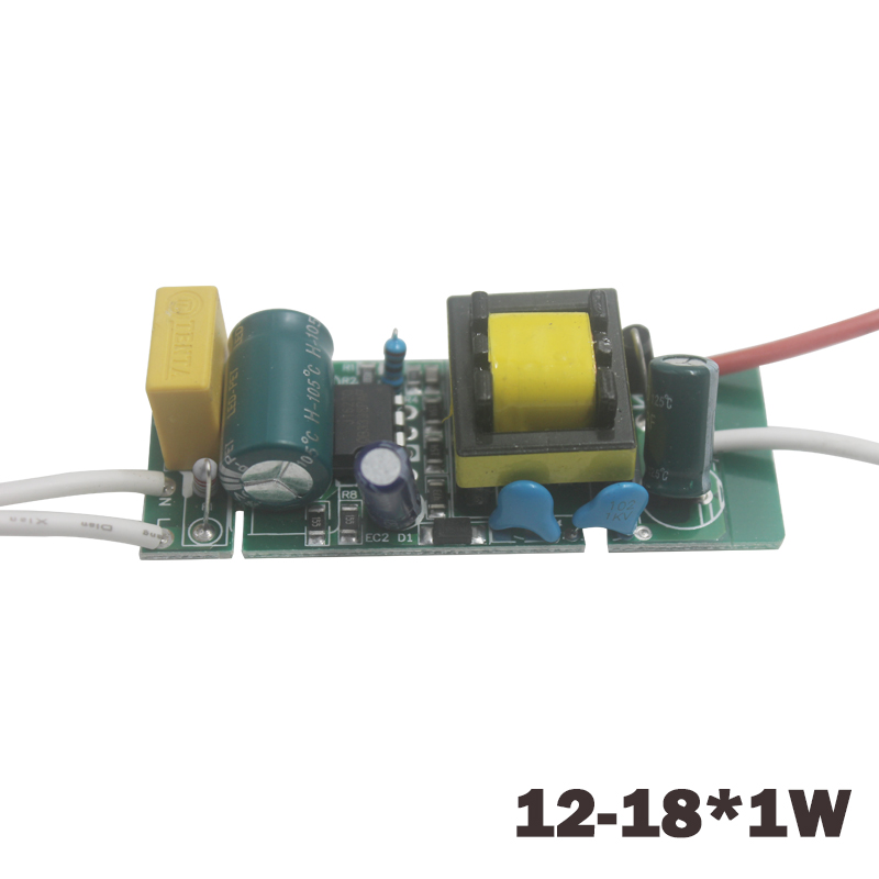 12-18W LED Driver Light Transformer Power Supply Adapter AC90-265V DC42-63V Arus Konstan 240-300mA untuk Led Light