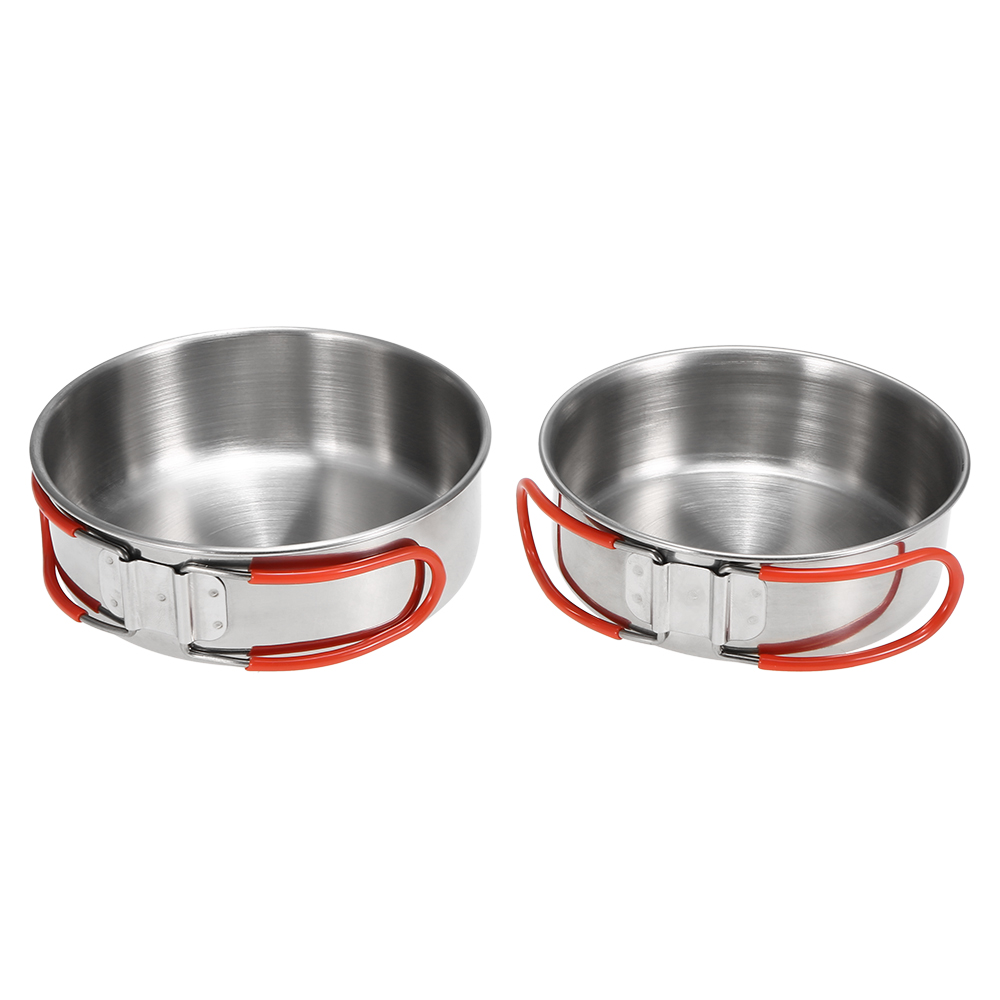 2Pcs Bowls with Foldable Handle Stainless Steel Bowl Dinner Plates Outdoor Camping Tableware Kitchen Dinner Lunch Food Container image