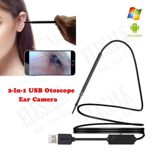 2-In-1 USB Otoscope Ear Camera OTG Android PC Ear Cleaning Endoscope Waterproof Inspection Camera Earpick Tool blessfun 2 in 1 professional diagnostic medical ear eye care led fiber otoscope ophthalmoscope tool sets