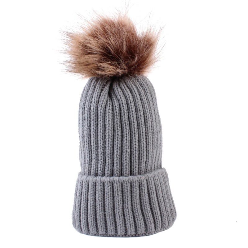 1PC Cute Winter Mom Women Baby Kids Girl Boy Newborn Crochet Knitted Hats Skull Caps Wool Fur Ball Pompom Beanies Hat 2018 in Hats Caps from Mother Kids