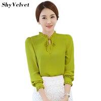Korean Style Long Sleeve Chiffon Blouse Women Tops 2017 Autumn Ruffle Blouses Plus Size Shirt White