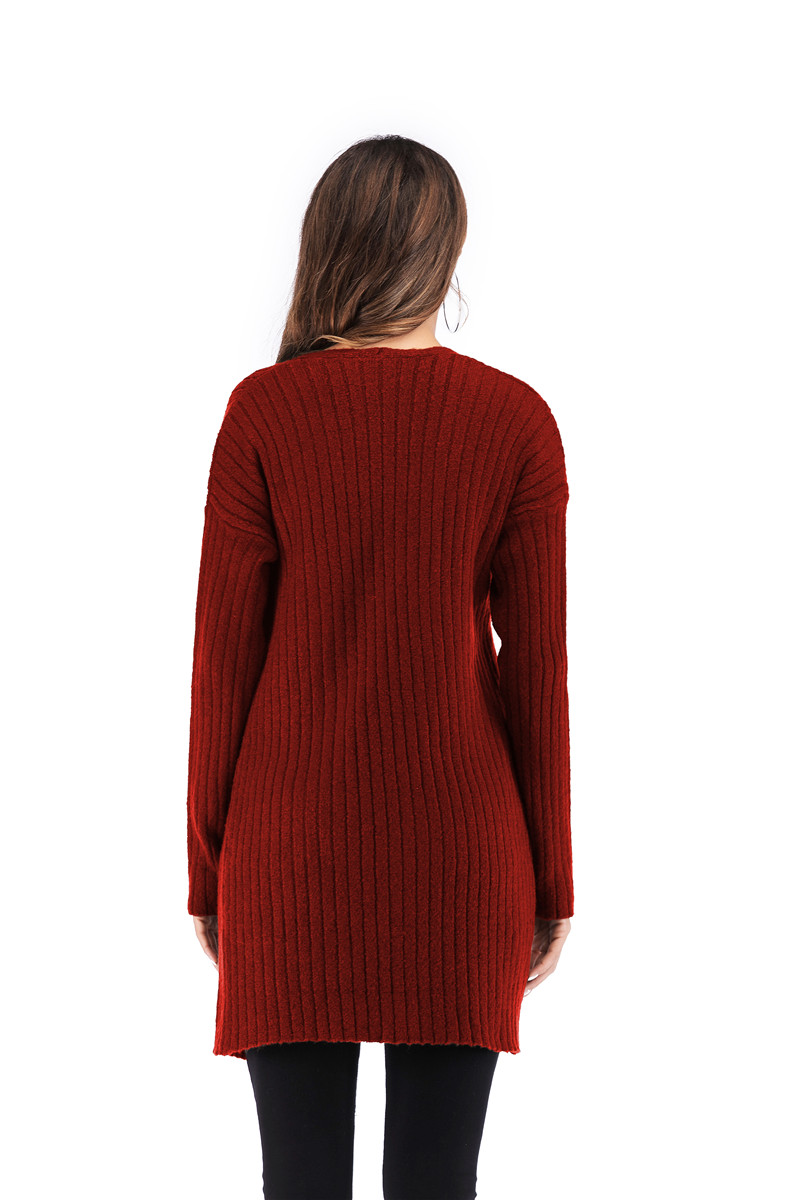 Fall Winter Cute Knitted Middle Long Ribbed Cardigan Dress for Women Kawaii Ladies Knit Drop Shoulder Sweater Coat Oversized S-L 12