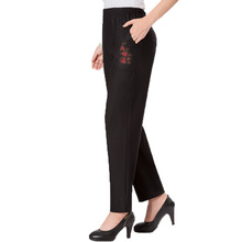 Chinese Women Casual Pant Flower Embroidery Pocket Trouser Middle Aged Woman Elastic Band Pants Womens High Waist Trousers 4XL