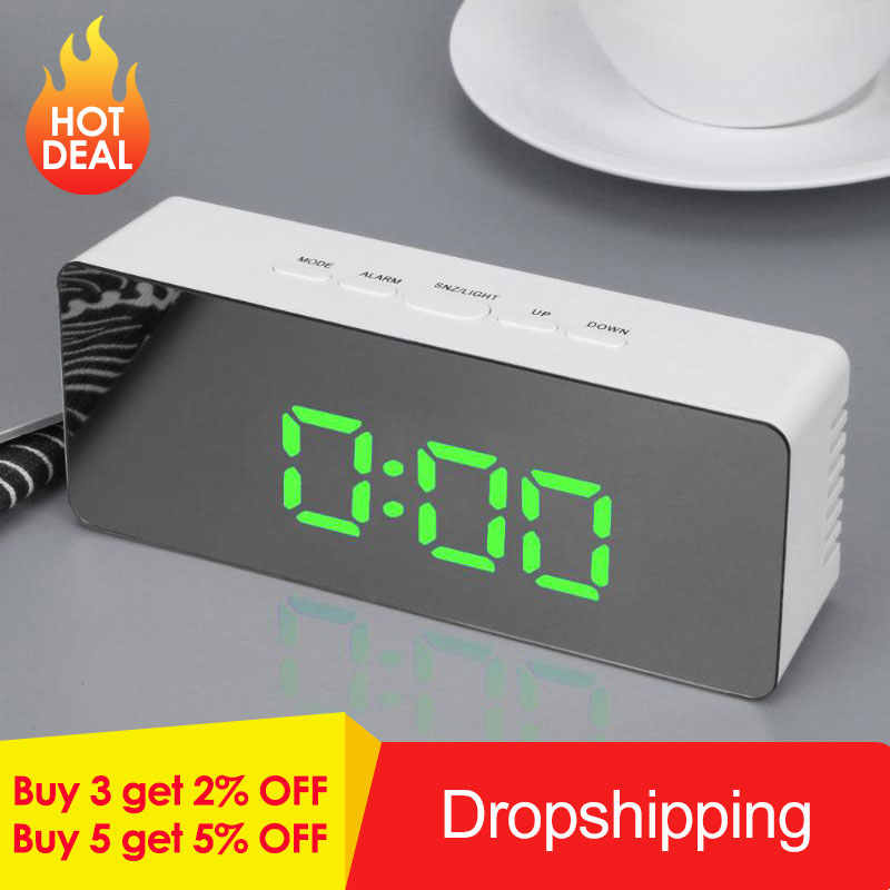 Digital LED Mirror Alarm Clock Desktop Clock Temperature Display Alarm Snooze Multi-function Electronic Timer Table clock newst