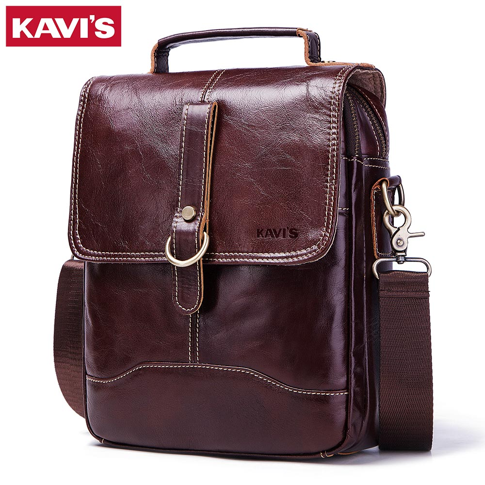 KAVIS 100 High Quality Messenger Bag Men s Genuine Leather Shoulder Male Bag Crossbody Handbag Bolsas
