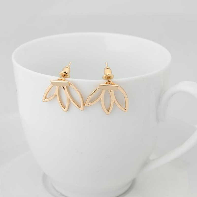 Mossovy Gold Leaves Flower Earrings for Women Fashion Silver Stud Jewelry Earrings for Female Boucle D'oreille Femme 2019