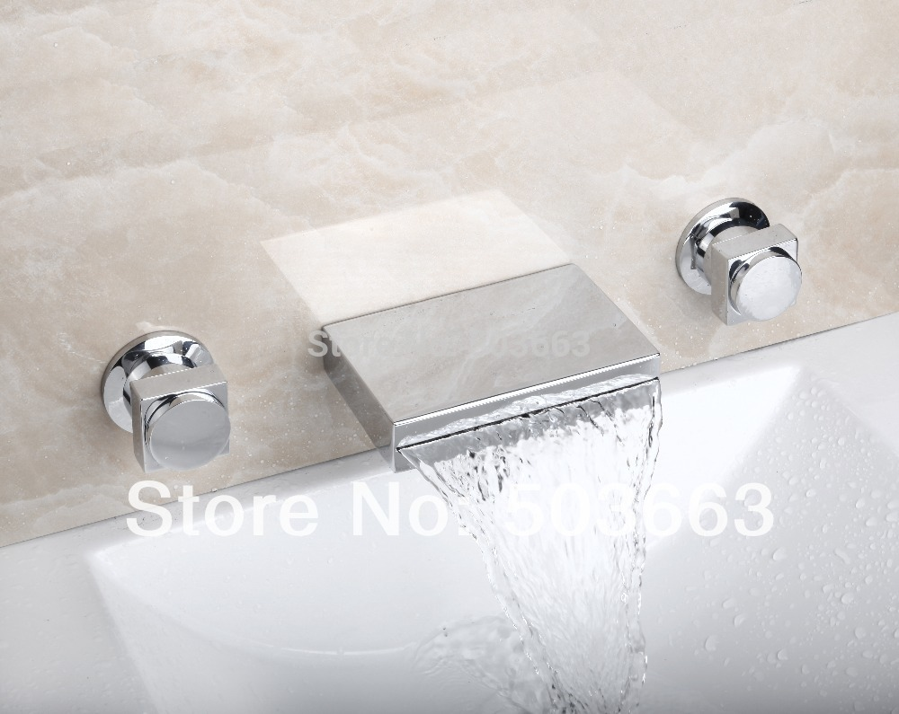 MF-819 Waterfall 3 Pieces Double Handles Chrome Deck Mount Shower Bathroom Wash Basin Sink Bathtub Torneira Tap Mixer Faucet luxury great waterfall wall mounted bathroom basin sink bathtub polished chrome double handles mixer tap faucet mf 828