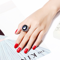 Love Accessories New Ring For Women Blue Green Big Oval Stone Platinum Plated Top Quality Brass