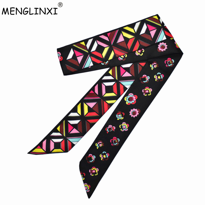 2020 New Brand Scarf Small Skinny Floral Silk Scarf For Women Print Handle Bag Ribbons Fashion Head Scarf Long Scarves