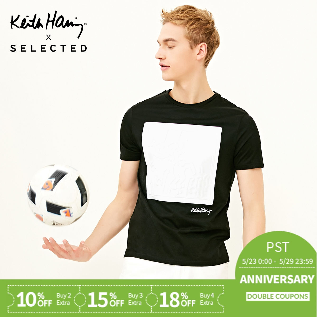 SELECTED joint men's cotton round neck fit casual short-sleeved T-shirt KH|4181T4528