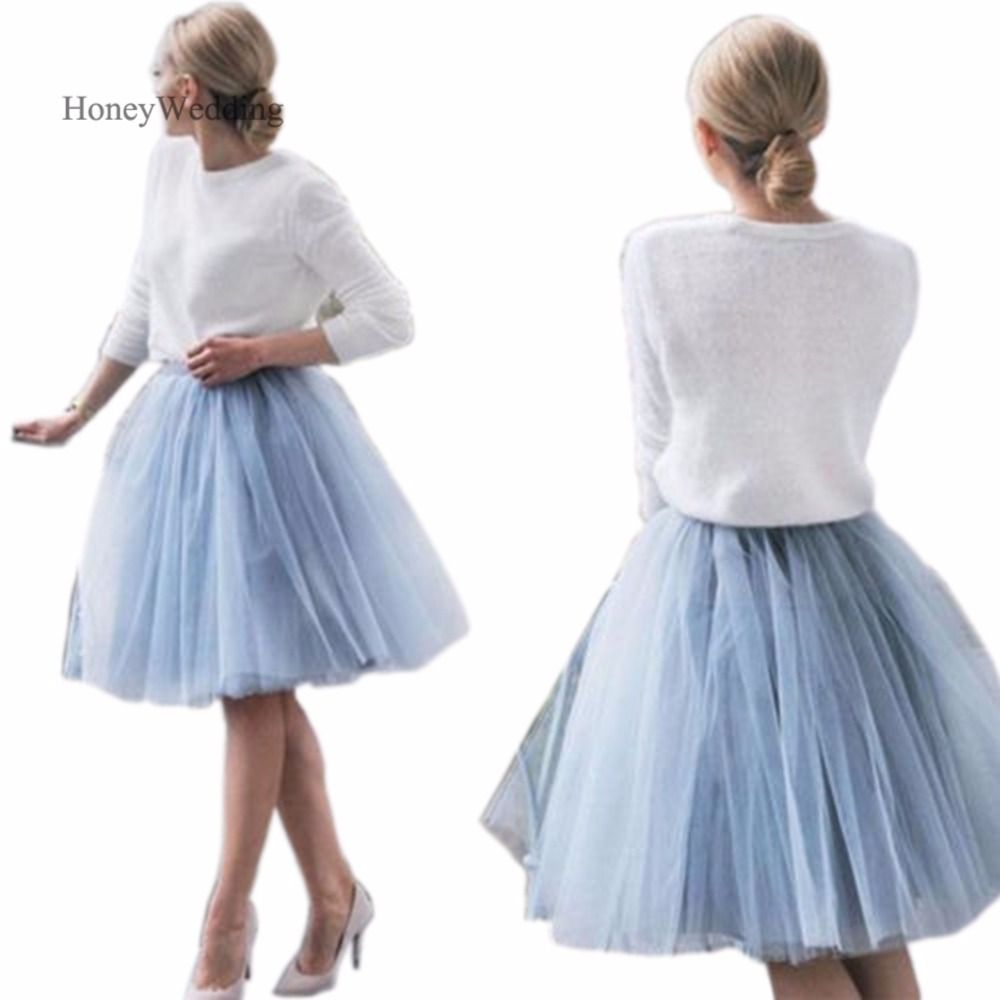 Light Blue Saias Midi Adult Tutu Tulle Short Skirt Falda Tul Mujer Cheap Womens Skirts Saias Na Altura Do Joelho