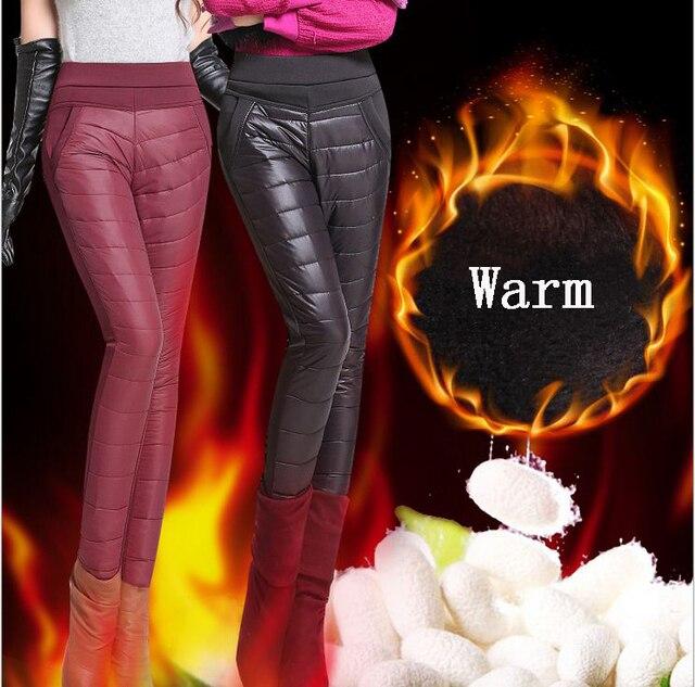 Женщины Брюки Брюки Зима Высокой Талией Верхняя Одежда Женщин женский Мода Тонкий Теплый Толстый Утка Вниз Брюки Брюки тощий утеплённые