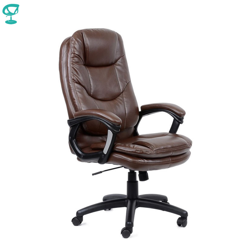 95164 Brown Office Chair Barneo K-145 Eco-leather High Back Chrome Armrests With Leather Straps Free Shipping In Russia