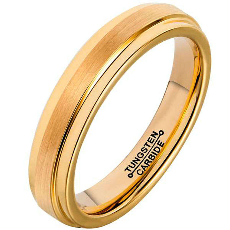 New Arrival 4mm Width Gold Plating Tungsten Carbide Rings for Wedding Brushed Certer Finishing Size 4-12