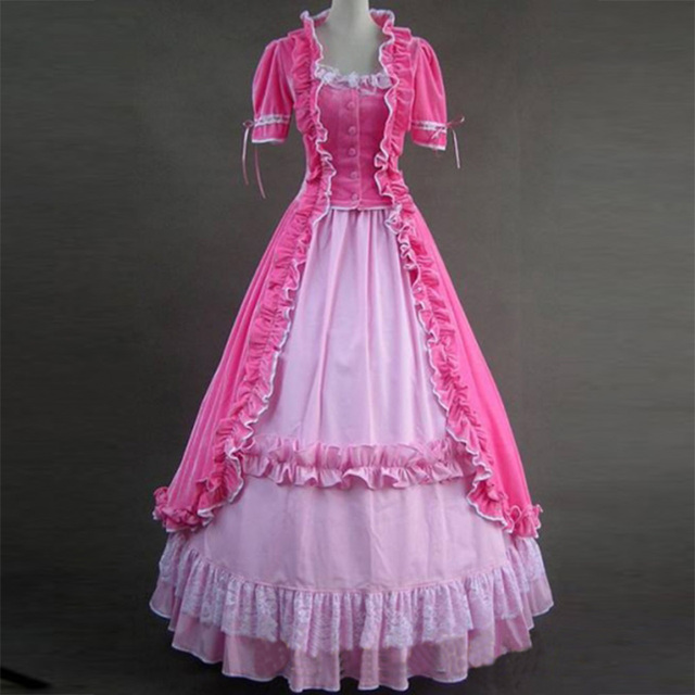 Medieval Short Sleeve Gothic Victorian Period Party Dress European Court Princess Ball Gown Costumes For 2018