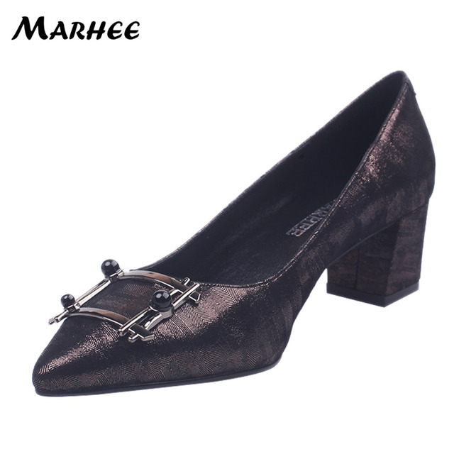 MARHEE Genuine Leather Black Brown High Heels Pumps Women Shoes Office Ladies Pointed Toes Slip on 5cm Block Heels P87-A11