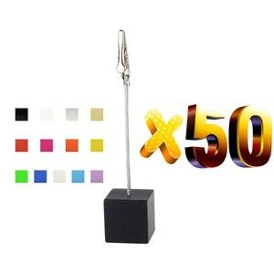 Image 2 - Lot 50 Pcs Memo Clips Cube Draad Houder Logo Custom Bruiloft Plaats Kaarthouder Promotie Gift Personaliseer Giveaway Freebie