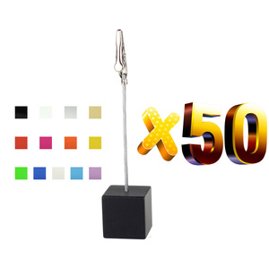 Image 2 - Lot 50pcs Memo Clips Cube Wire Photo Holder Logo Custom Wedding Place Card Holder Promotion Gift Personalize Giveaway freebie