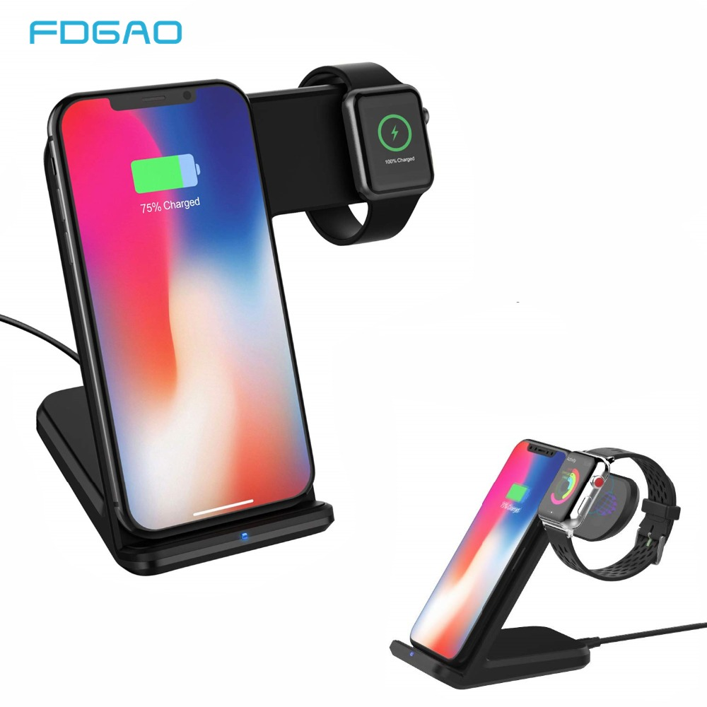 FDGAO Qi Wireless Charger Stand for iPhone XS Max XR X 8 Apple Watch Series 4 3 2 Fast Charge Dock Station for Samsung S10 S9 S8 in Wireless Chargers from Cellphones Telecommunications