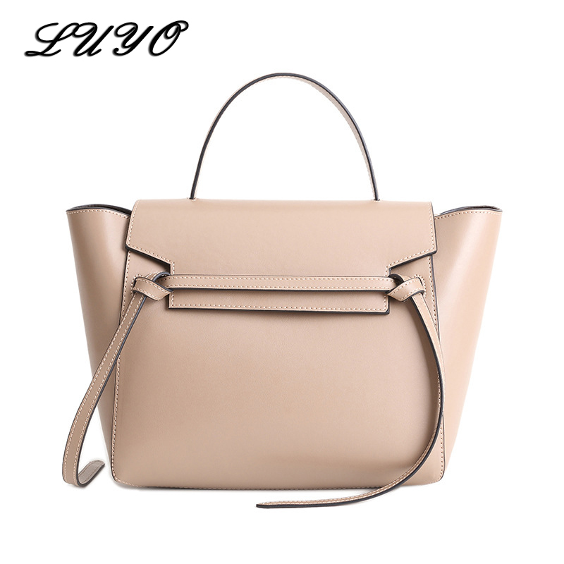 LUYO Trapeze Catfish Genuine Leather Luxury Handbags Women Shoulder Bags Designer Famous Brands Tote Bag Female Black Fashion soar cowhide genuine leather bag designer handbags high quality women shoulder bags famous brands big size tote casual luxury