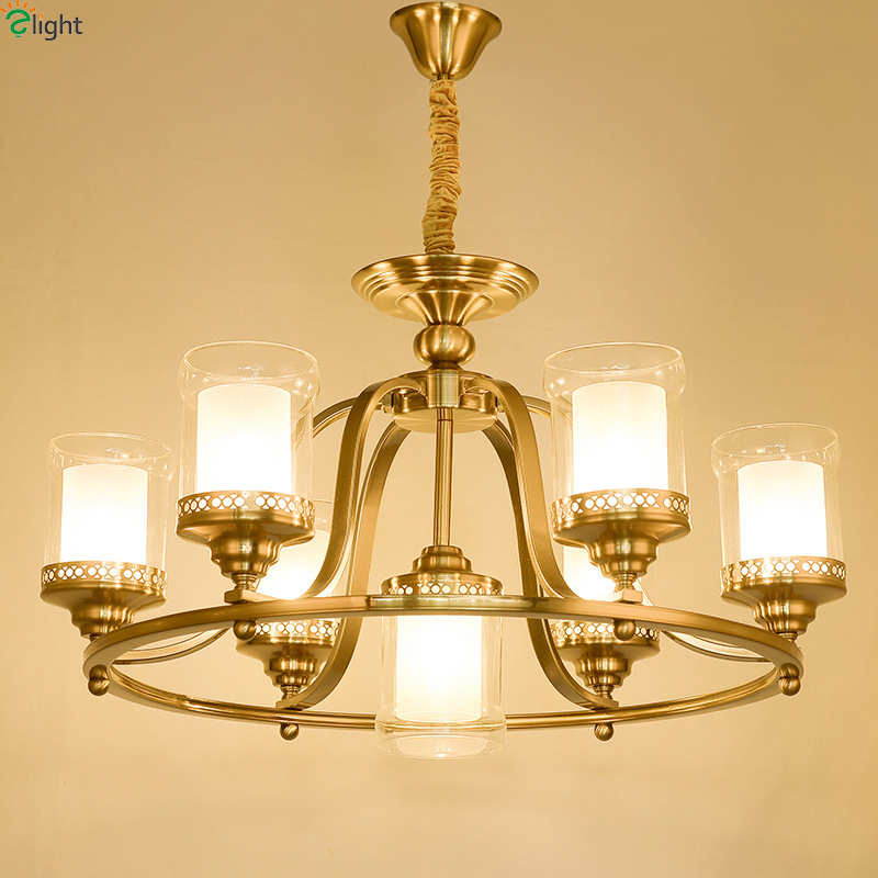 American Lustre Copper Led Pendant Chandeliers Light Glass Shades Living Room Led Chandelier Lighting Fixture Led Hanging Lights