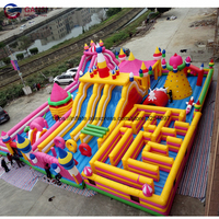 Outdoor playing funny games inflatable maze castle combo bounce house inflatable fun city for kids