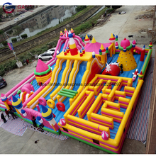 Outdoor playing funny games inflatable maze castle combo bounce house inflatable fun city for kids outdoor competition inflatable sports games inflatable jousting sticks for sale