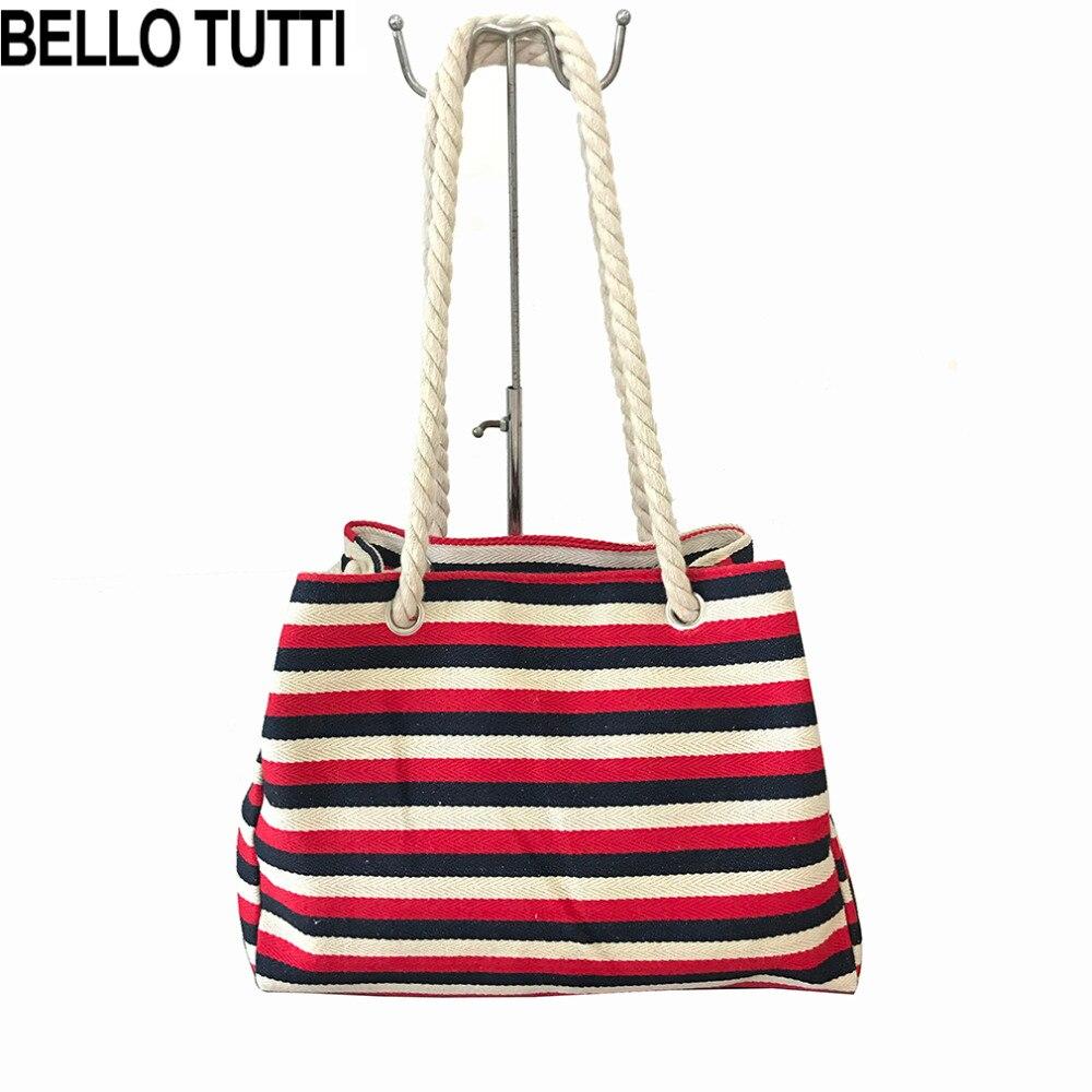 b0a427c85 BELLO TUTTI Women's Handbags Canvas Tote Bag Striped Design Casual Shoulder  Bags Fashion Environmental Protection Shopping Bag