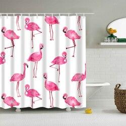 Flamenco Animal perro hipopótamo gato poliéster Rosa Cortina de ducha alta calidad decoración lavable cortinas de colores para ducha de baño