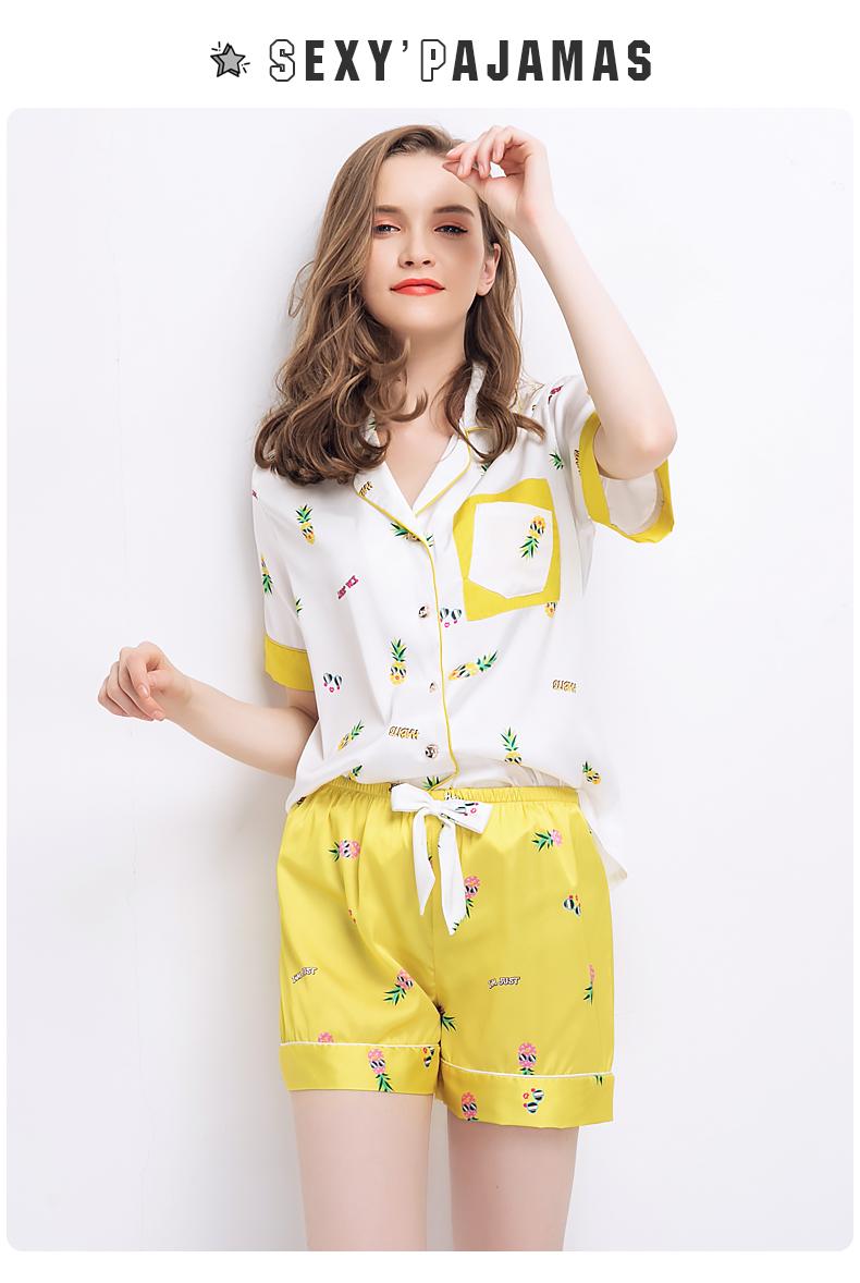 CherLemon Sweet Loose Cartoon Print Satin Pajamas Women Summer Short Pijamas  Novetly Graffiti Silk Pjs Nightwear For Young GirlsUSD 20.11 set 0a374831d