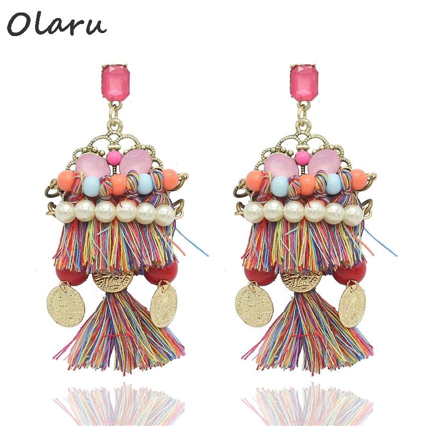 Olaru Jewelry Fashion Bohemia Handwork Acylic Stud Earring For Woman 2017 Hot New Long Tassel Earrings Best Gift Sale