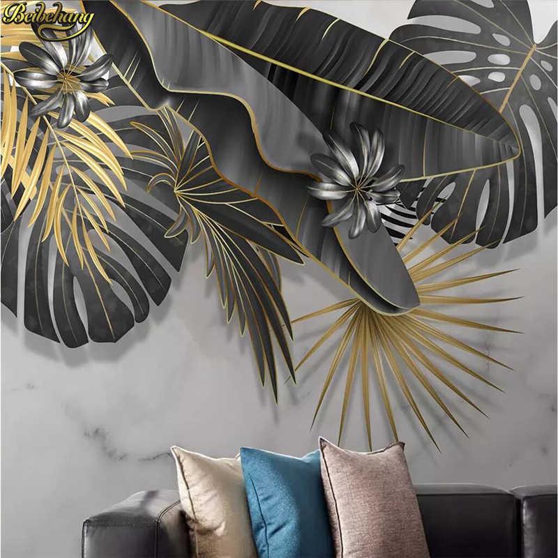 Beibehang Costume Nórdico planta tropical deixa branco marmorizado pintura mural papel de parede foto papel de parede para sala de estar fundo 3D rolos